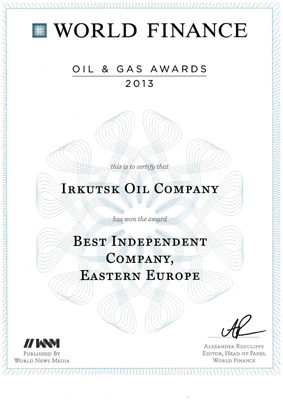 World Finance names Irkutsk Oil as Best Independent Oil and Gas Company in Eastern Europe for second consecutive year